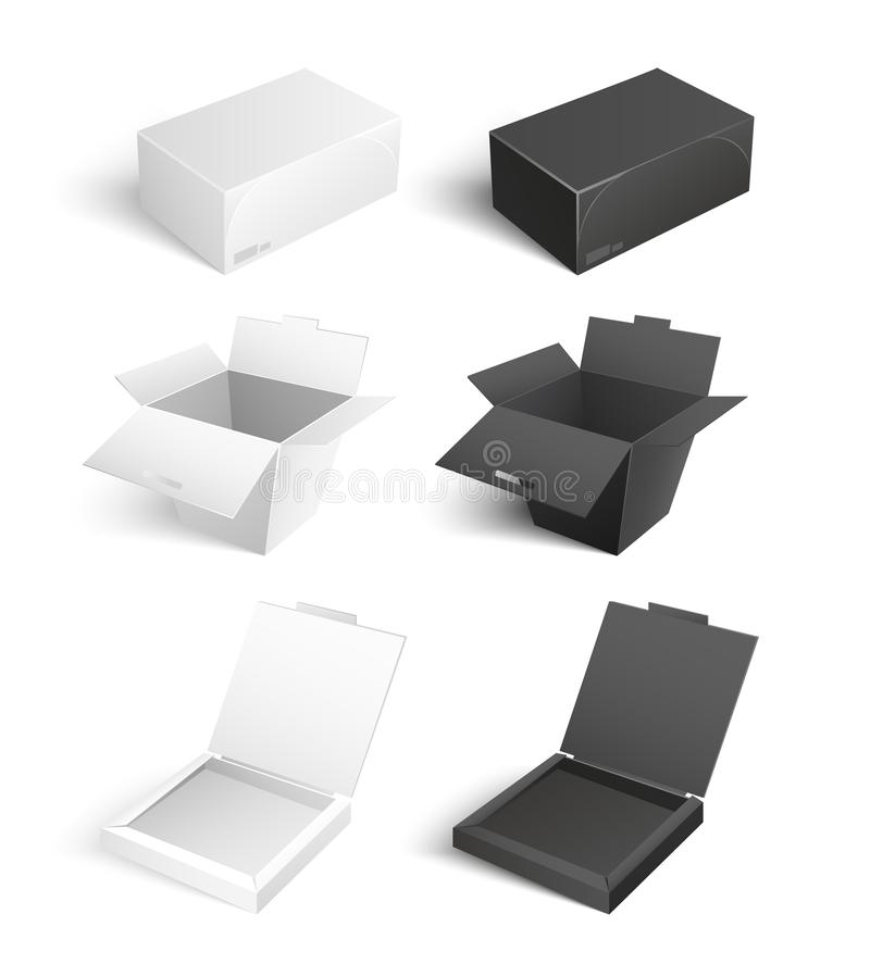 Containers Templates Vector Icons Boxes Packages. Mockup of cardboards, delivery packs signs. Containers templates vector icons. Boxes and packages made of paper vector illustration