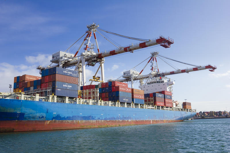 Containers to be unloaded in a container ship at Swanson Dock in the Port of Melbourne, Australia royalty free stock photo