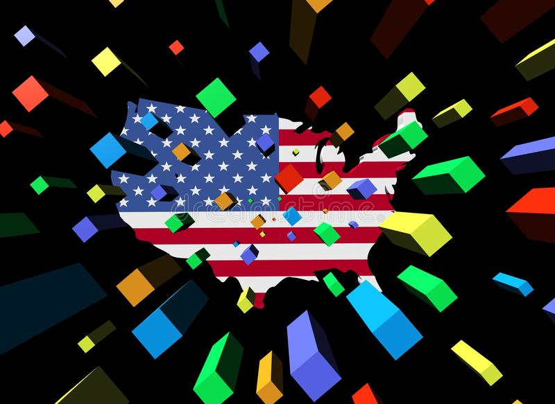 Download Containers And USA Map Flag Stock Illustration - Image: 23229720