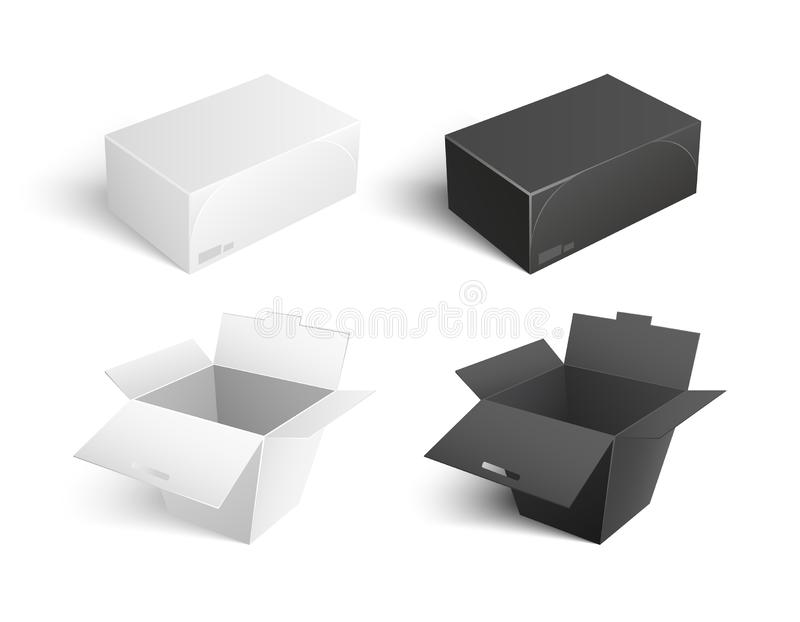 Containers Vector Icons Boxes Packages Templates. Templates of containers vector icons. Boxes and packages made of paper and carton isolated on white. Mockup of stock illustration