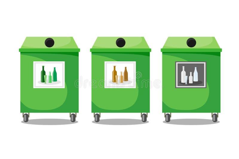 Containers voor het recycling van glas door kleur, groene, bruine en duidelijke glas Vectorillustratie van een vlakke stijl royalty-vrije illustratie