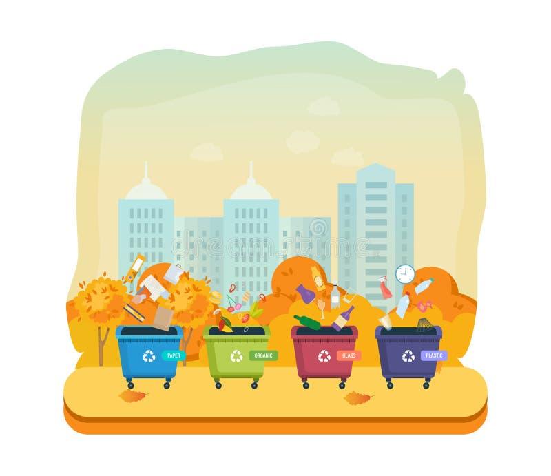 Containers voor huisvuil van verschillende types, op de stad van de de herfststraat royalty-vrije illustratie
