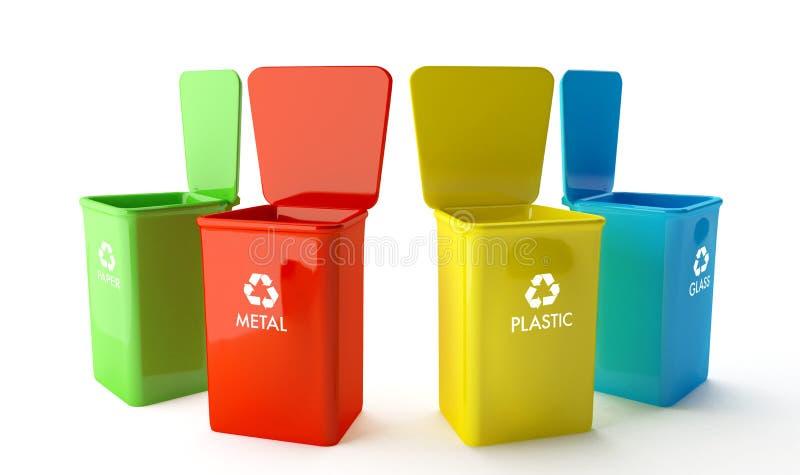 Containers voor recycling royalty-vrije illustratie