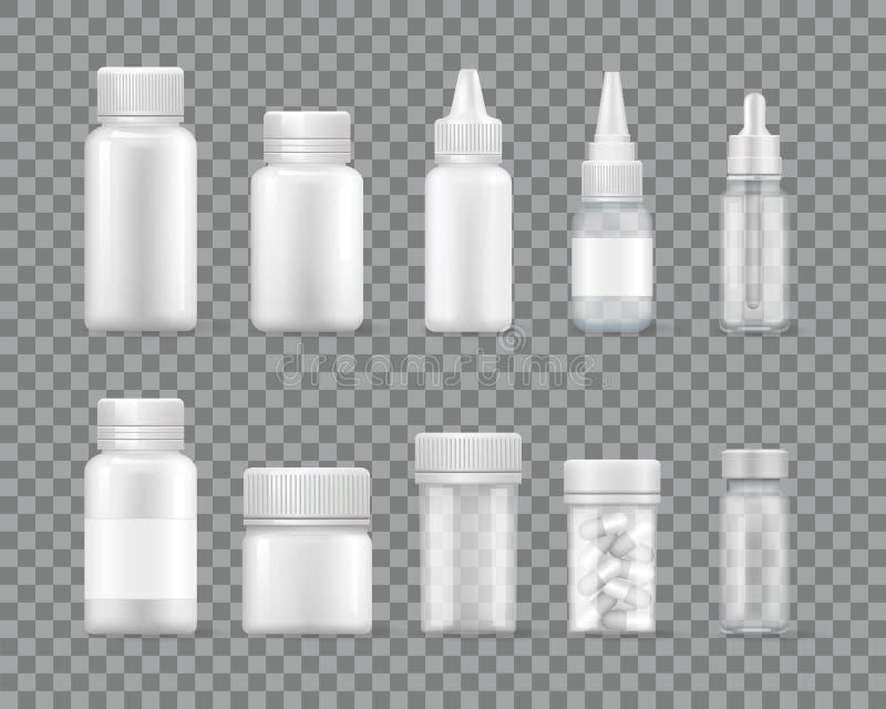 Containers voor Vloeibare Medicijnen en Geplaatste Pillen royalty-vrije illustratie