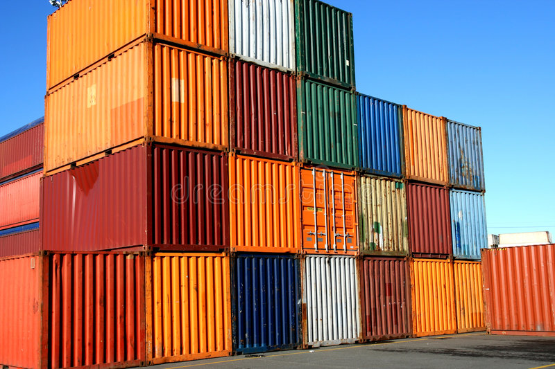 Containers waiting to be loaded stock image