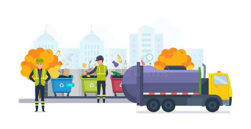 Containers for garbage of different types, on autumn street city. Containers with waste for recycle garbage, on autumn street of city. Waste management with stock illustration