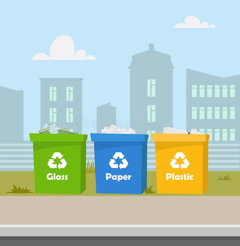 Containers with waste. Recycling and sorting garbage. City landscape on background. Blue, green, yellow trash bins with recycling. Symbols. Containers for glass royalty free illustration