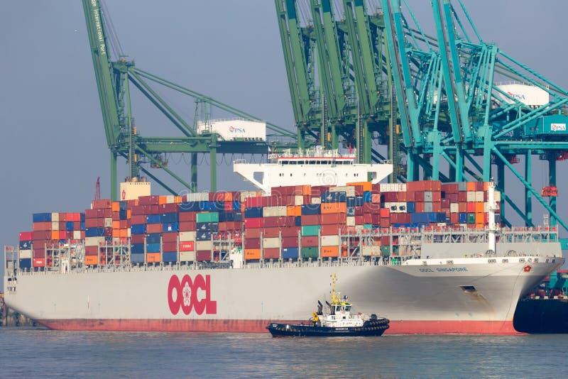 Containerschiff Antwerpen lizenzfreie stockfotos