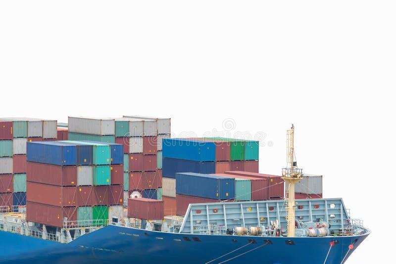 Containerschiffbug lokalisiert stockbilder