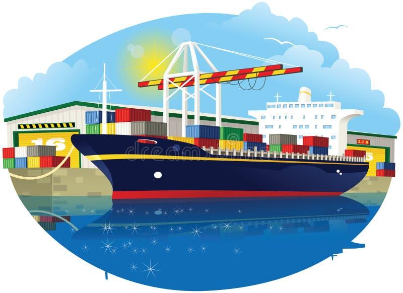 Containerschip en dokkraan royalty-vrije illustratie