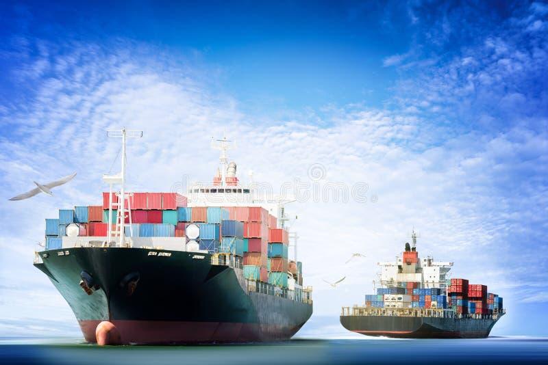 Containervrachtschip in de oceaan met Vogels die in blauwe hemel vliegen, stock fotografie