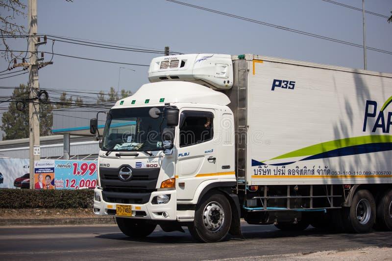 Containervrachtwagen van Parame-het bedrijf van het Logistiekvervoer stock afbeelding