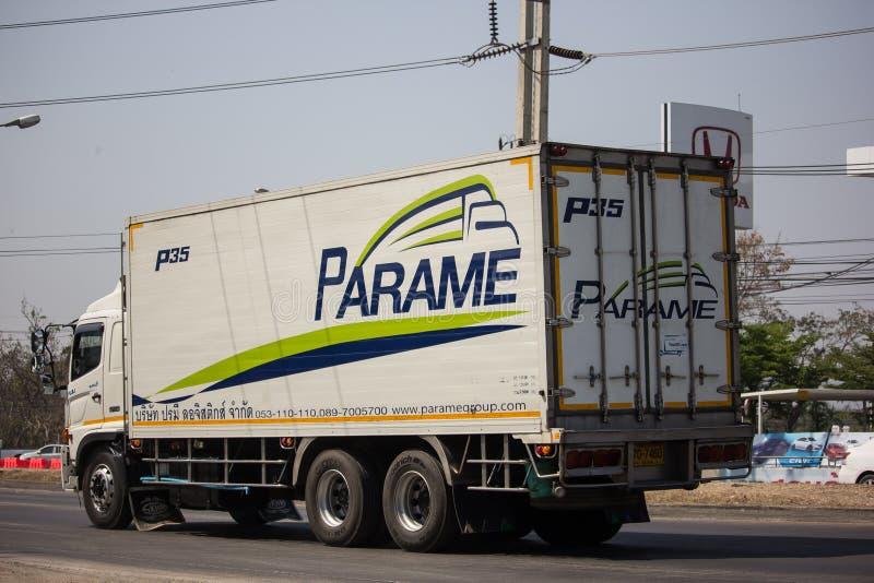 Containervrachtwagen van Parame-het bedrijf van het Logistiekvervoer royalty-vrije stock foto