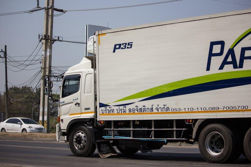 Containervrachtwagen van Parame-het bedrijf van het Logistiekvervoer royalty-vrije stock foto's