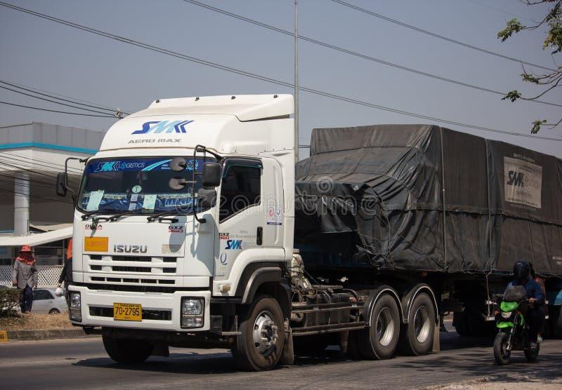 Containervrachtwagen van SMK-Logistiek stock fotografie