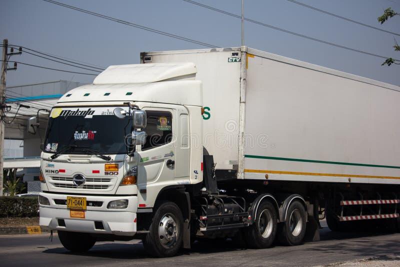 Containervrachtwagen van Thanaporn Logistic voor Tesco-lotusbloem stock foto