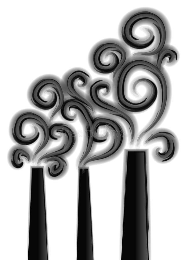 Contaminación alta de las pilas de humo stock de ilustración