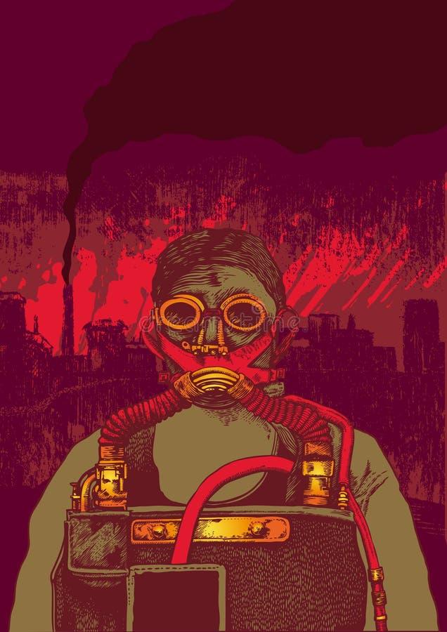 Contaminación atmosférica, hombre en máscara del respirador ilustración del vector