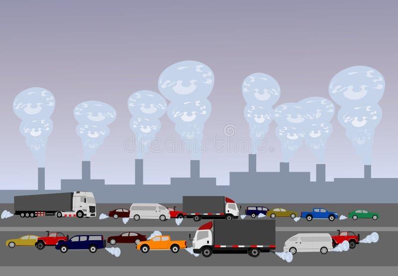 Contaminación causada por los coches en los caminos y el ¡industrial del plantsภstock de ilustración
