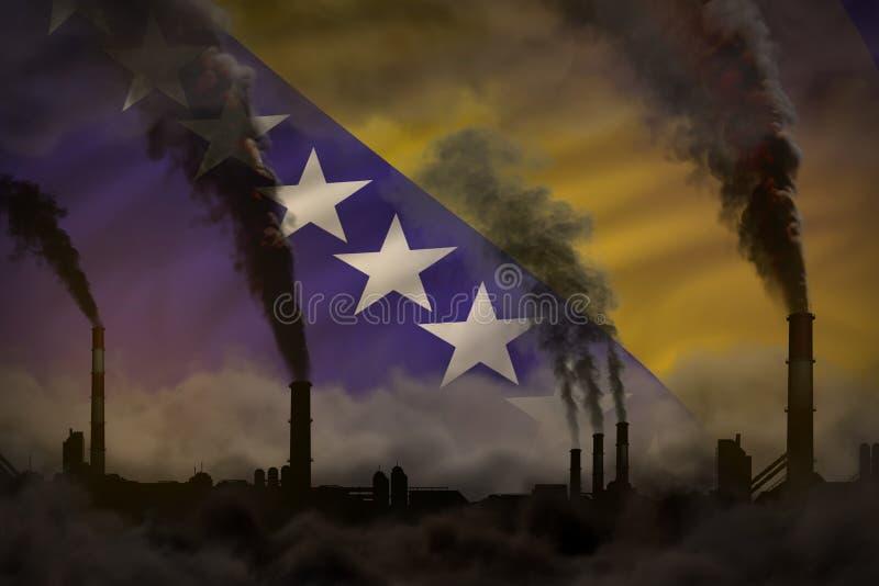 Contaminación, concepto oscuros de la lucha contra el cambio climático - ejemplo industrial 3D del humo denso de las chimeneas in libre illustration