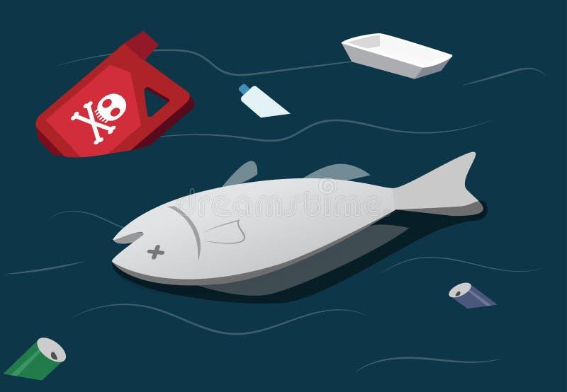 Contaminación de agua hacer los pescados muertos, vector stock de ilustración