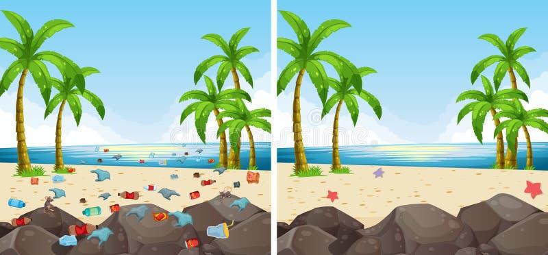 Contaminación de la escena de la playa y limpiado ilustración del vector