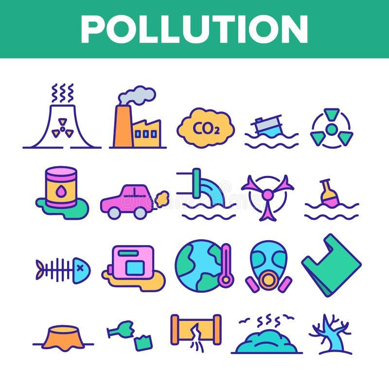 Contaminación de la línea de color del vector del ambiente sistema de los iconos stock de ilustración