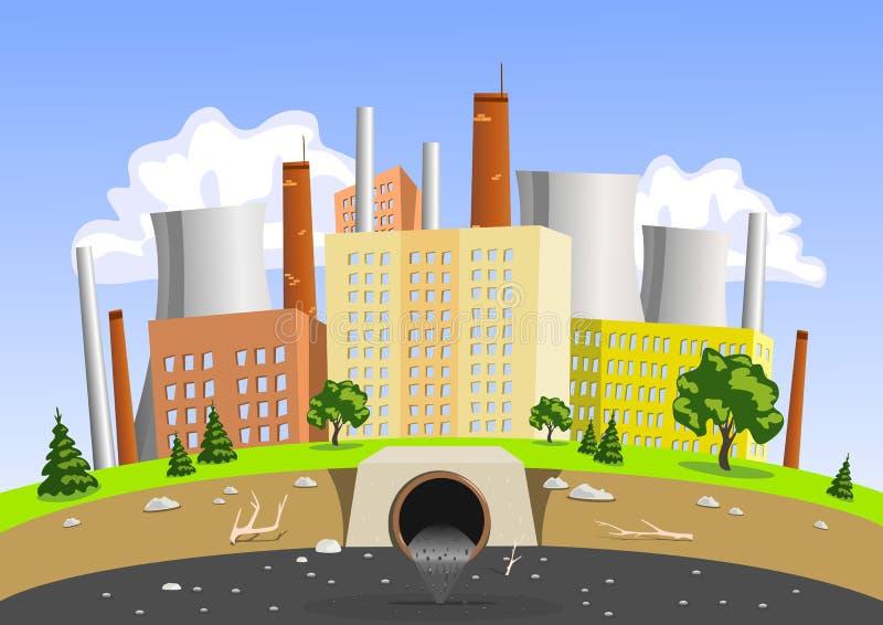 Contaminación del aire y de agua de la fábrica libre illustration