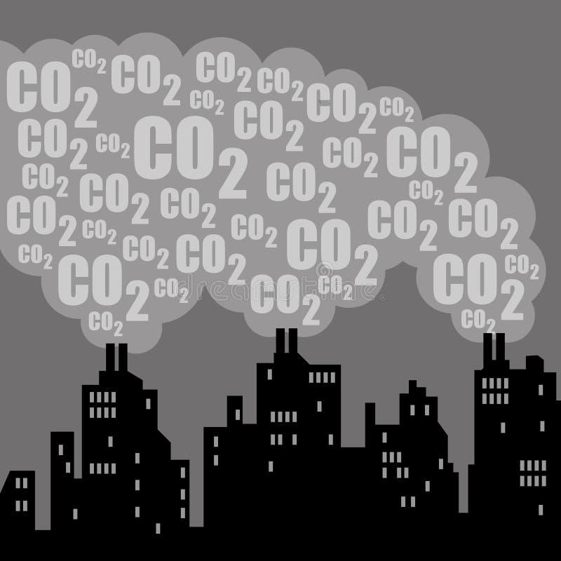 Contaminación del dióxido de carbono stock de ilustración