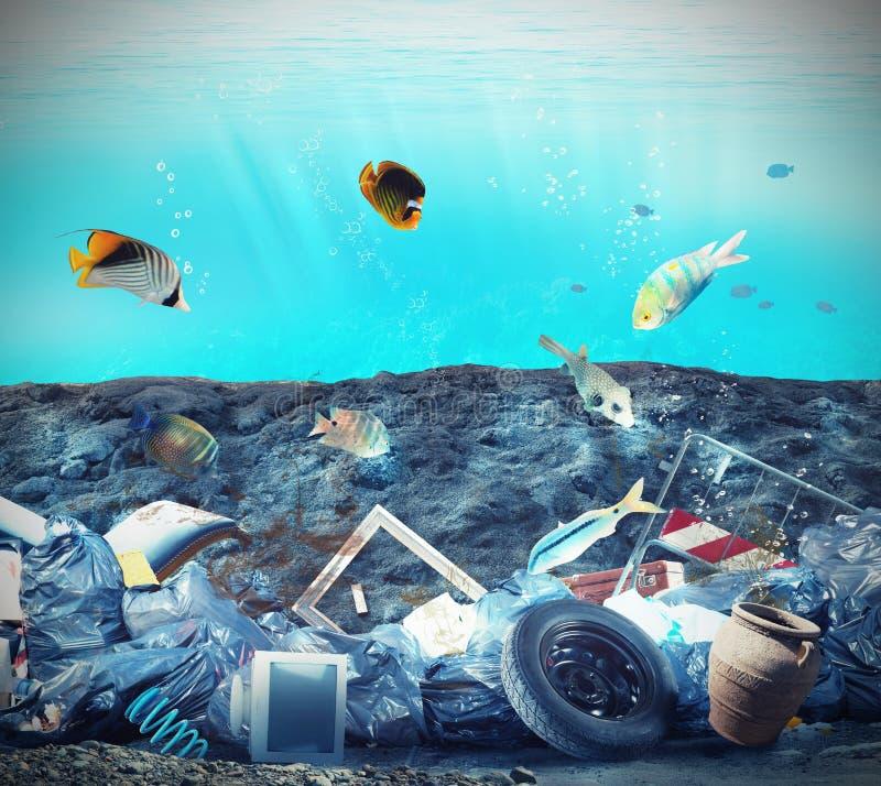 Contaminación del fondo del mar foto de archivo libre de regalías