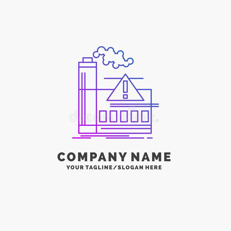 contaminación, fábrica, aire, alarma, negocio púrpura Logo Template de la industria Lugar para el Tagline ilustración del vector