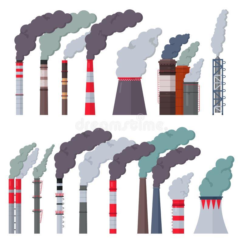 Contaminación industrial de la chimenea del vector de la fábrica de la industria con humo en sistema del ejemplo del ambiente del ilustración del vector