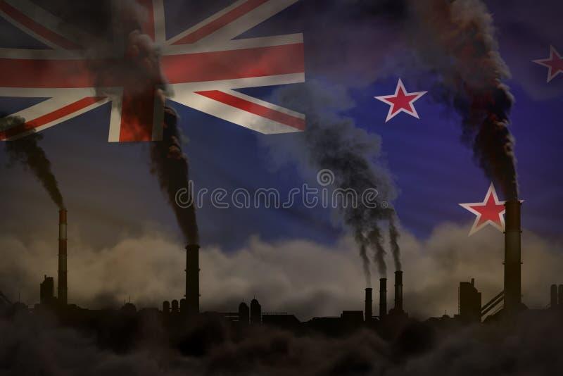 Contaminación oscura, concepto de la lucha contra el cambio climático - ejemplo industrial 3D del humo pesado de los tubos de la  libre illustration