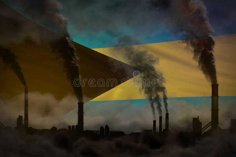 Contaminación oscura, concepto de la lucha contra el cambio climático - ejemplo industrial 3D del humo pesado de los tubos indust libre illustration