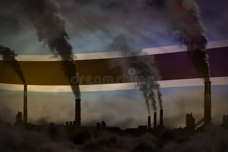 Contaminación oscura, concepto de la lucha contra el cambio climático - humo denso de las chimeneas de la planta en fondo de la b stock de ilustración
