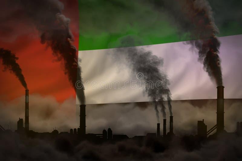 Contaminación oscura, concepto de la lucha contra el cambio climático - humo pesado de las chimeneas de la fábrica en fondo de la libre illustration