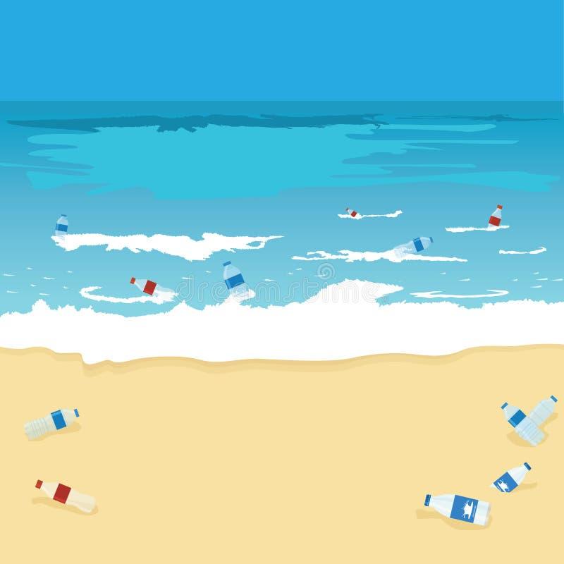 Contaminación plástica de la botella del océano, del mar o de la playa Botellas, las bolsas de plástico y ruina en el fondo del m stock de ilustración