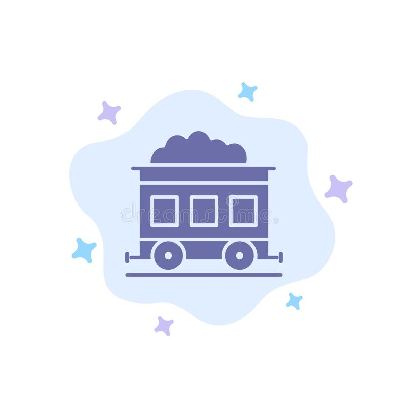 Contaminación, tren, icono azul del transporte en fondo abstracto de la nube ilustración del vector