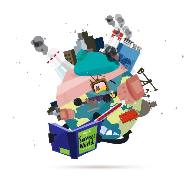 Contaminación y libro de lectura enfermo del mundo 'cómo ahorrar el vector del mundo '- ilustración del vector