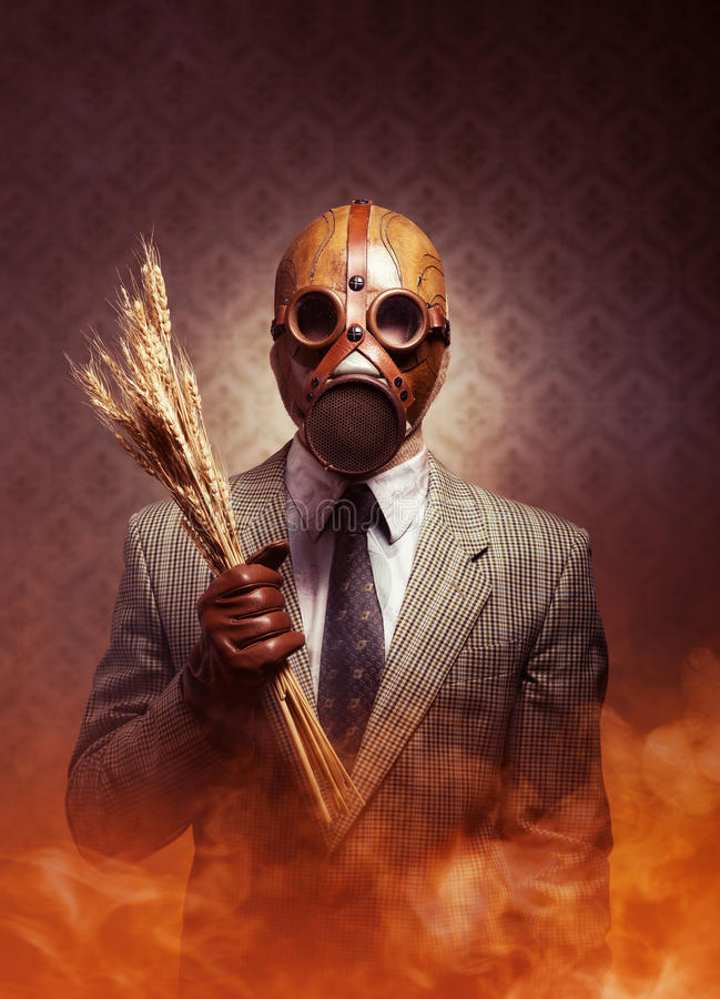 Contaminated food and pollution. Man wearing a gas mask and holding ears of wheat with toxic smoke on background stock photos