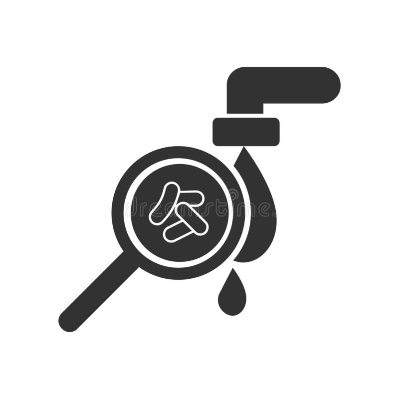 Contaminated water icon  icon. Bacteria in water. Cholera. Magnifying glass. Cholera. Contaminated water icon  icon. Bacteria in water. Cholera vector illustration