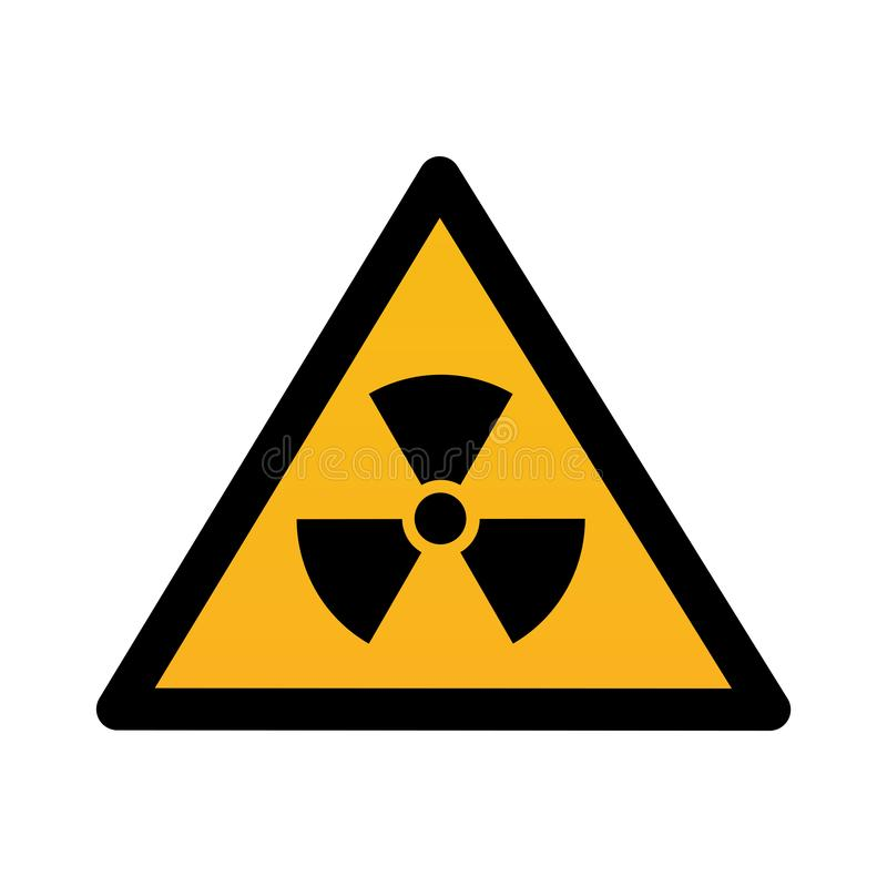 Contamination radioactive dans l'illustration de vecteur de signe de triangle illustration stock