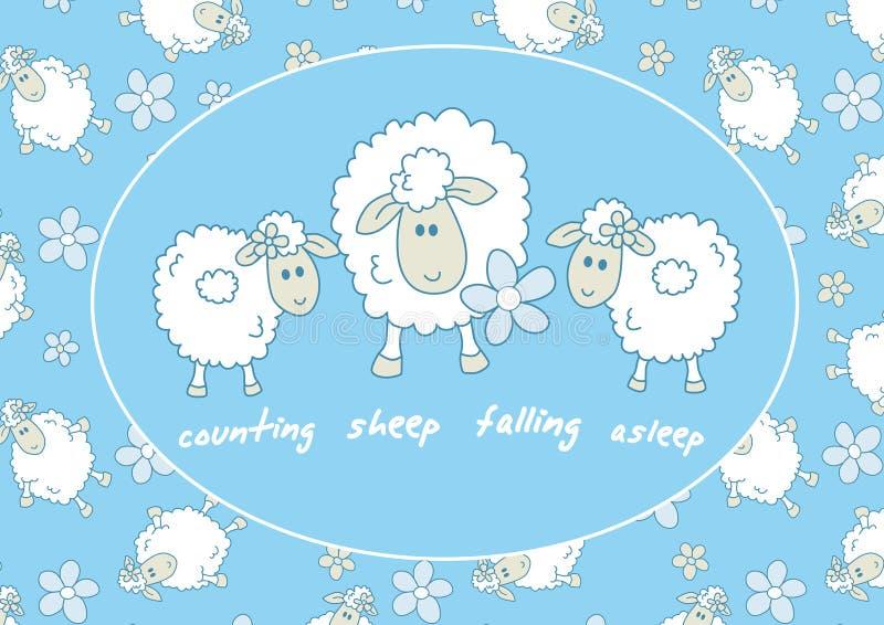 Contando caer de las ovejas dormido ilustración del vector