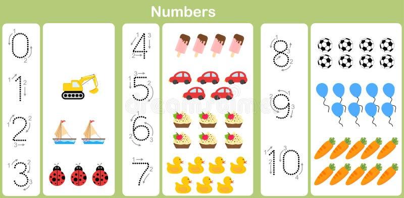 Contando e scrivendo i numeri a 10 per i bambini illustrazione vettoriale