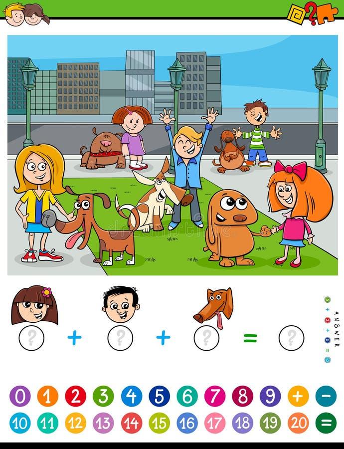 Contando ed aggiungendo compito per i bambini illustrazione vettoriale