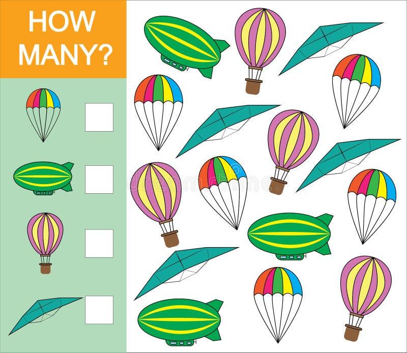 Contando el juego cuánto objeto del transporte aéreo para los niños preescolares Aprendizaje de números, matemáticas Ilustración  ilustración del vector