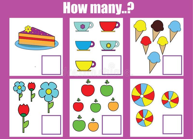 Contando il gioco educativo dei bambini, il per la matematica scherza l'attività Quanti oggetti incaricano royalty illustrazione gratis