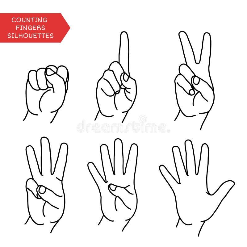 Contando las manos fijadas ilustración del vector