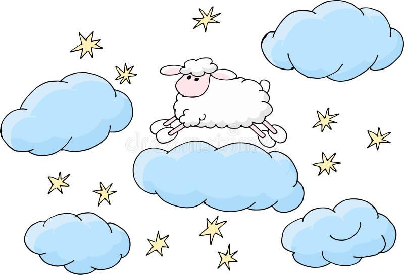 Contando le pecore per cadere illustrazione addormentata di vettore illustrazione di stock