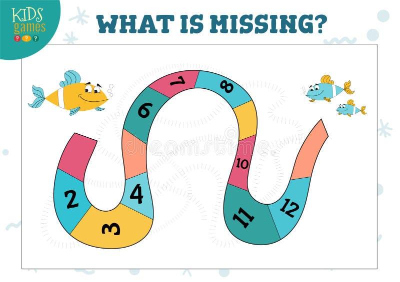 Contando o jogo com peixes dos desenhos animados e sequência da ilustração do vetor dos números ilustração do vetor